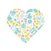 Healthy lifestyle icon in heart — Stock Vector