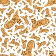 Stock Vector: Tigers seamless pattern