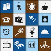 Hotel and accommodation icons — Vecteur