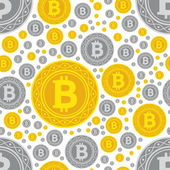 Bitcoin coins seamless pattern — Stock Vector