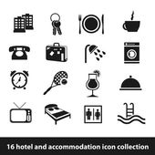Hotel and accommodation icons — Stock Vector