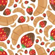 Croissant and strawberry in chocolate seamless pattern — Stock Vector