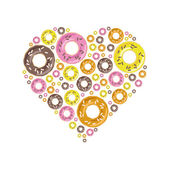 Donuts in heart — Stock Vector