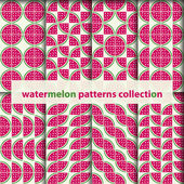 Watermelons seamless patterns — Stock Vector