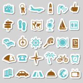 Travel and accommodation stickers — Stock Vector