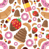 Desserts seamless pattern — Stock Vector