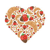 Croissant and strawberry in chocolate in heart — Stock Vector