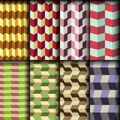 8 retro seamless patterns — Stock Vector