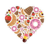 Desserts in heart — Stock Vector