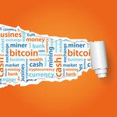 Bitcoin text under paper — Stock Vector