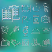 Outline hotel and accommodation icons — Stock Vector