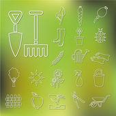 Outline garden icons — Stock Vector