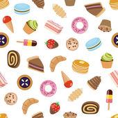 Desserts seamless pattern — Stock Vector