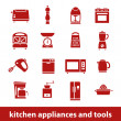 Kitchen appliances and tools icons — Stock Vector #46258125