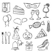 Doodle party images — Stock Vector
