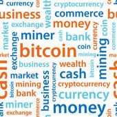 Bitcoin text seamless pattern — Stock Vector