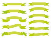 Set of green ribbons — Stock Vector