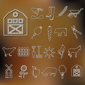 Farm outline icons — Stock Vector
