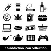 Addiction icons — Stock Vector