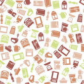 Kitchen appliances and tools seamless pattern — Stock Vector