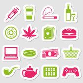 Addiction stickers — Stock Vector