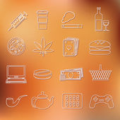 Addiction outline icons — Stock Vector