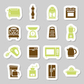 Kitchen appliances and tools stickers — Stock Vector