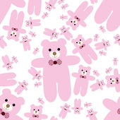 泰迪熊无缝模式 — 图库矢量图片