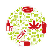 Drug icons in circle — Stock Vector