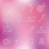 Sewing outline icons — Stock Vector