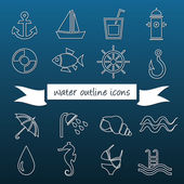 Water outline icons — Stock Vector