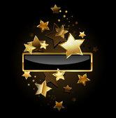 Rectangular banner with gold stars — Stock Vector