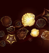 Gold seashells — Stock Vector