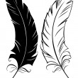 Silhouette black and white feather — Stock Vector