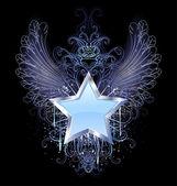 Blue star on a dark background — Stock Vector