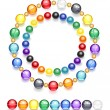 Stock Vector: Necklace of multicolored beads