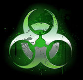 Biohazard symbol on a dark background — Stock Vector