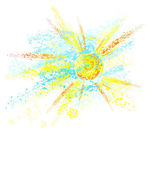 Sun painted with paint — Stock Vector
