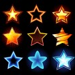 Set of glowing stars — Imagen vectorial