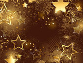 Brown background with golden stars — Stock Vector