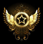 Star with golden wings — Stock Vector