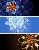 Three banners with abstract flowers — Stock Vector
