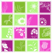 Computer icons with flowers and branches — Stock Vector