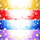 Four banners with sparkling stars — Stock Vector