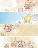 Four banner with seashells — Stock Vector