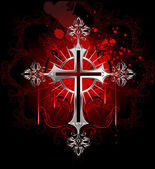Gothic silver cross — Stock Vector
