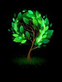 Green tree on a black background — Stok Vektör