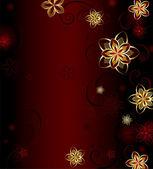 Fondo rojo con flores de oro — Vector de stock