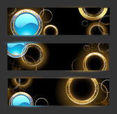 Banner with golden rings — Vetorial Stock