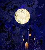 Moonlit night on halloween — Stock Vector